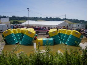 Toilets that were flooded at Glastonbury 2005