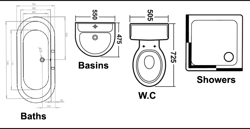 Cad drawing of a bath, basin, wc and shower enclosure