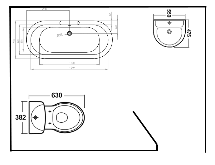 Cad drawing of a toilet, bath and basin
