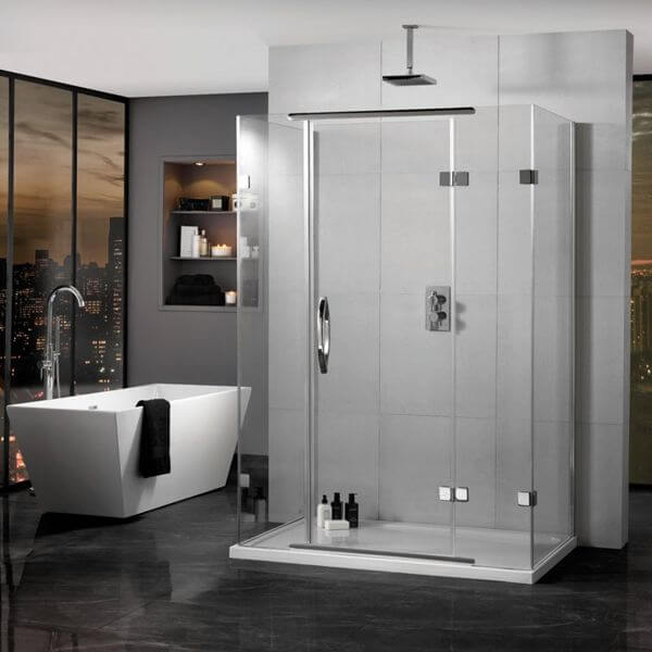 Aquadart inline hinged 3 sided shower enclosure