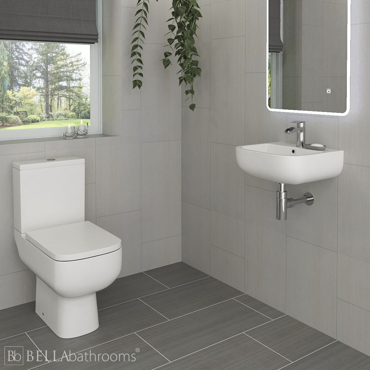 A small toilet and wall hung basin in a cloakroom
