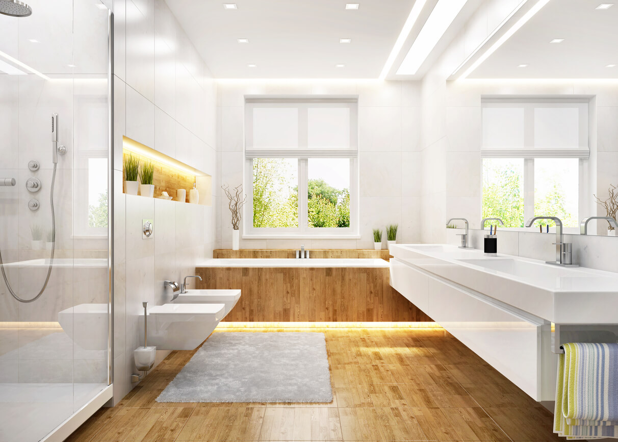 white bathroom with many lights in modern large house