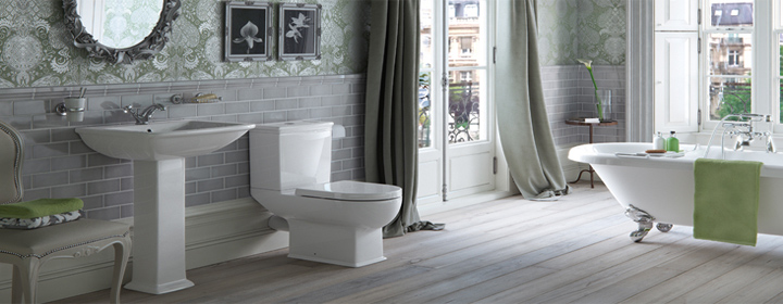 Newbury Traditional Back To Wall Roll Top Bath Suite At: Traditional Bathroom Designs