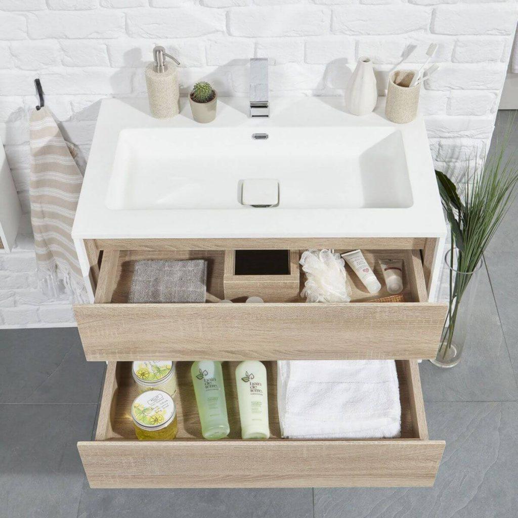 Frontline aqua natural modern oak wall hung vanity unit lifestyle drawers