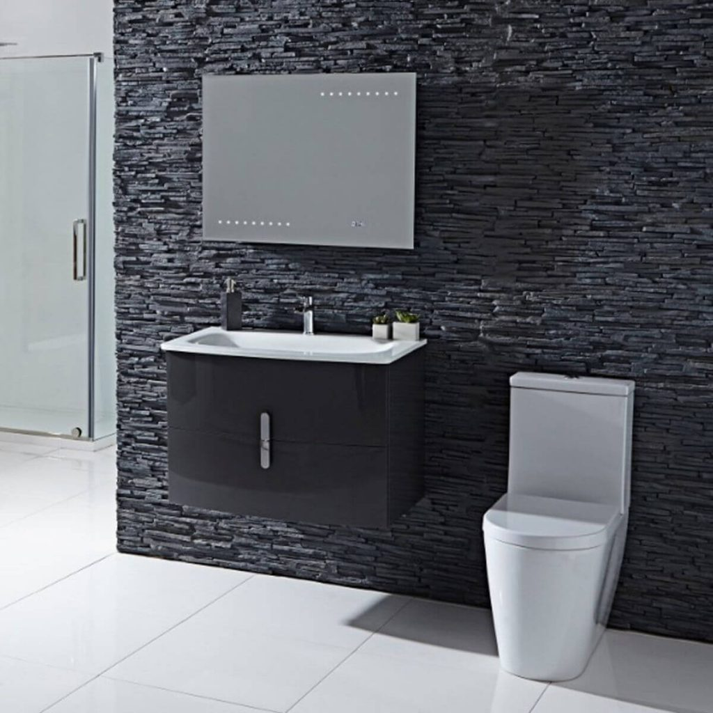 wall mounted furniture next to toilet