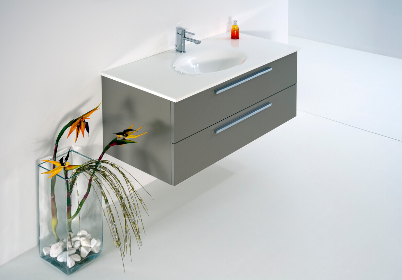 Bathroom with washbasin built in to cupboard