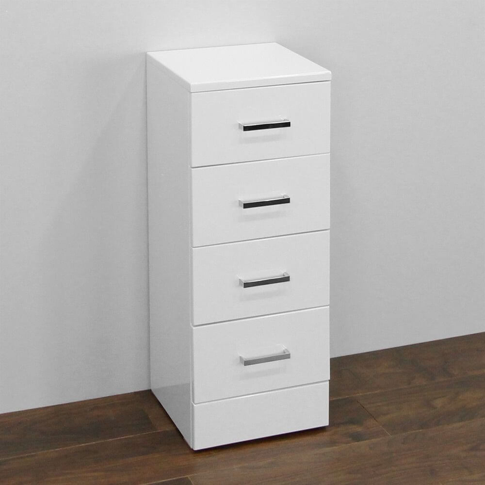 Nuie High Gloss White 4 Drawer Storage Unit