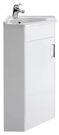 Nuie High Gloss White Single Door Corner Vanity Unit
