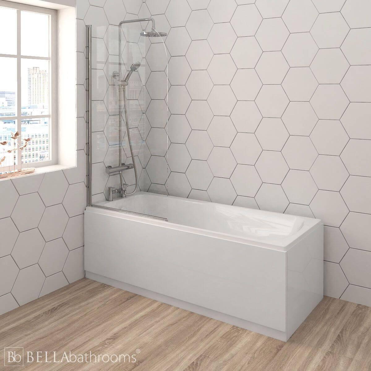 Nuie Linton Shower Bath with Round Bath Screen
