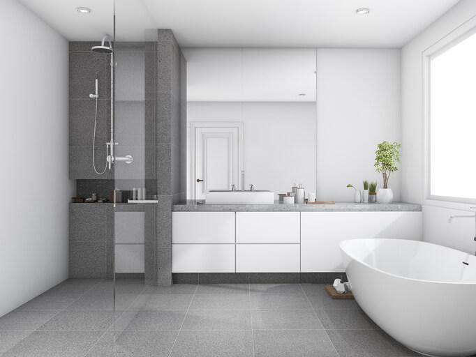 3d rendering luxury and modern style wood bathroom near window stock photo
