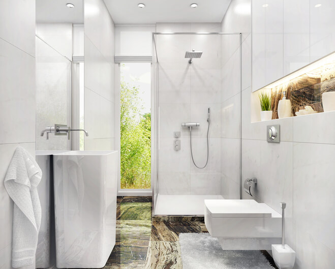 Modern white bathroom with shower and window stock photo