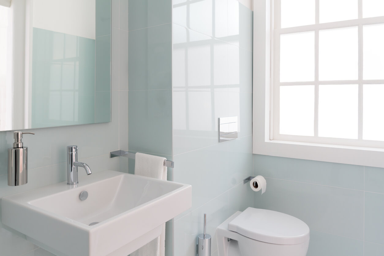 small bathroom concept. Clean and fresh bathroom with natural light