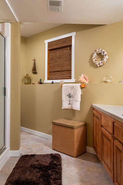 Beach Themed Home Bathroom stock photo