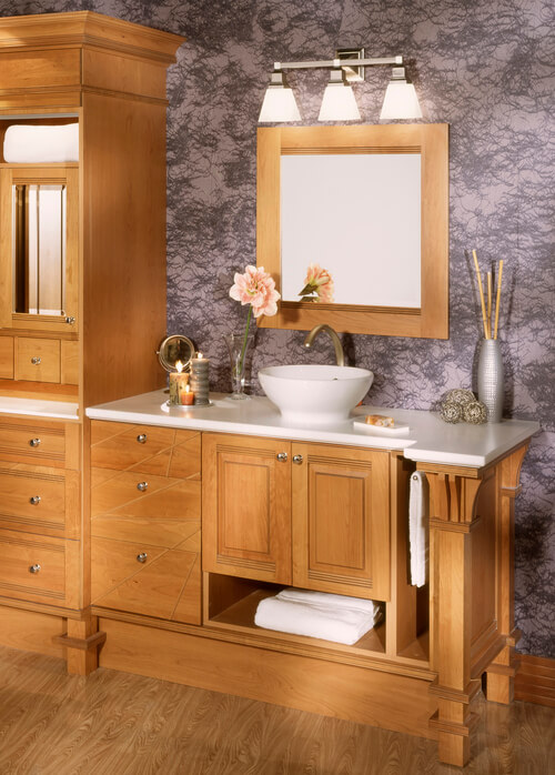 Custom built bathroom with cabinets