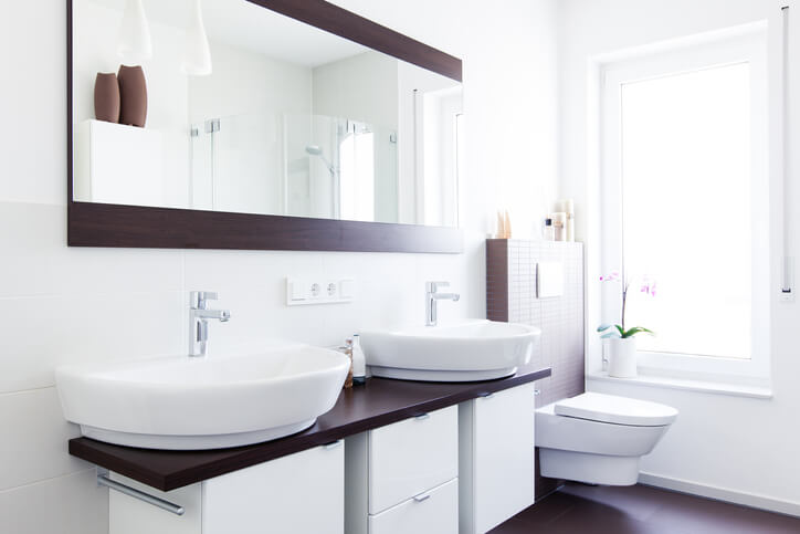 modern bathroom with cabinets