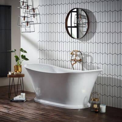stylish roll top bath in a bathroom