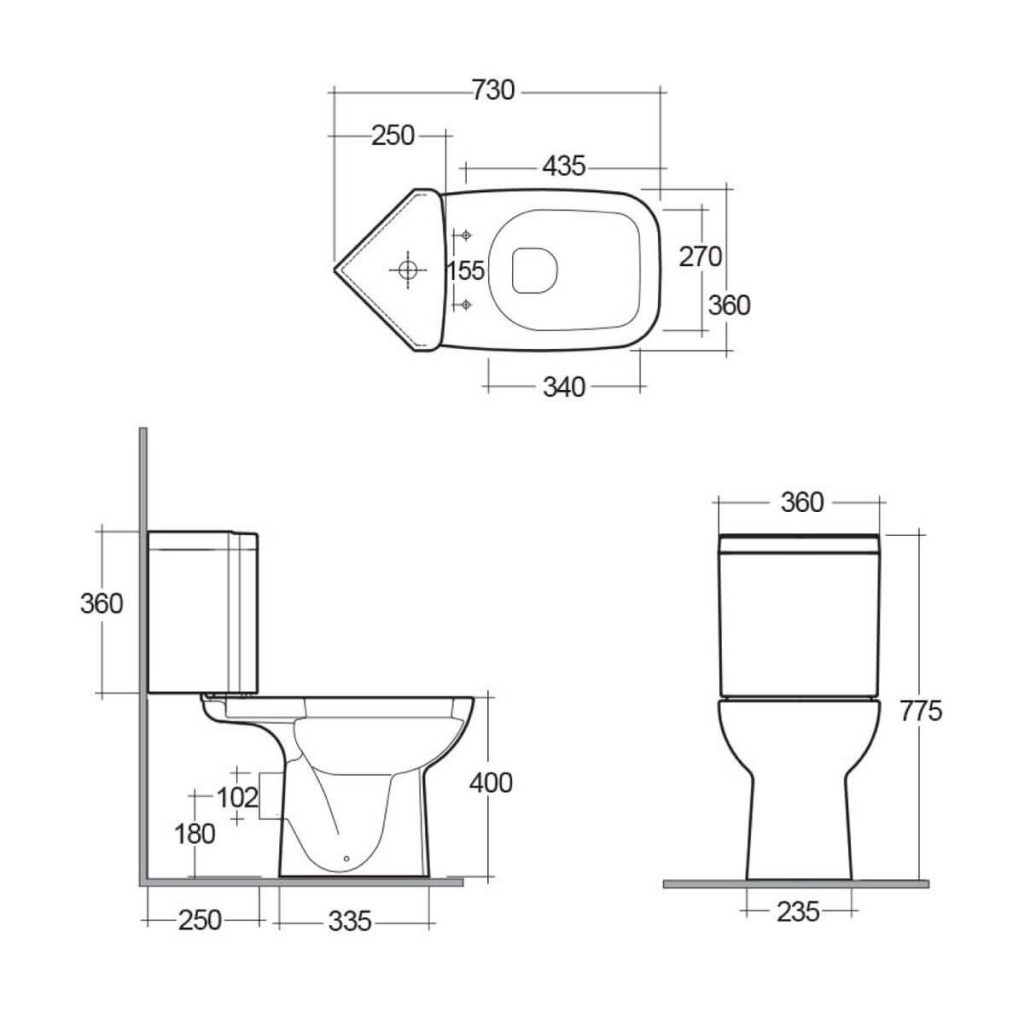 Rak Origin 62 close coupled corner toilet cad drawing