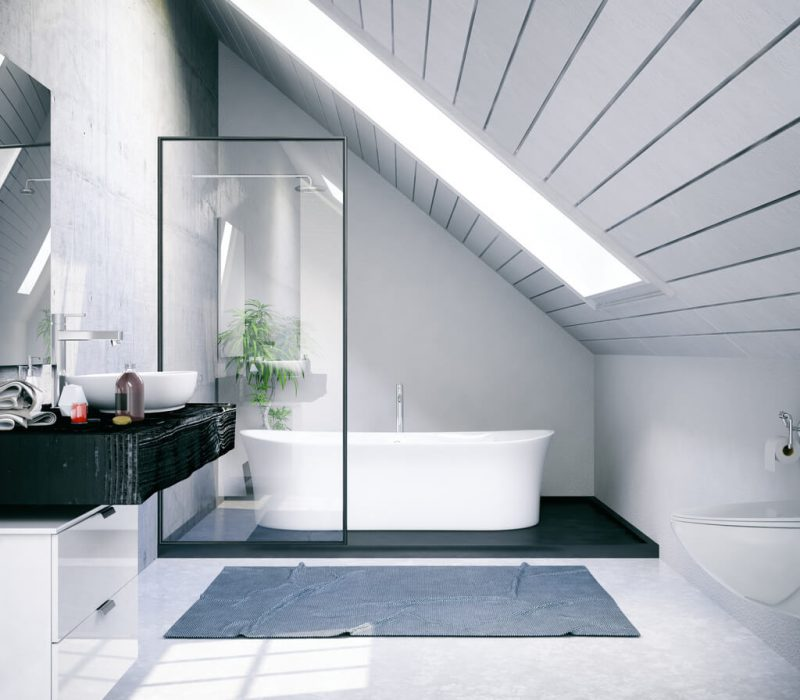 Bathtub in the modern interior in a bathroom loft