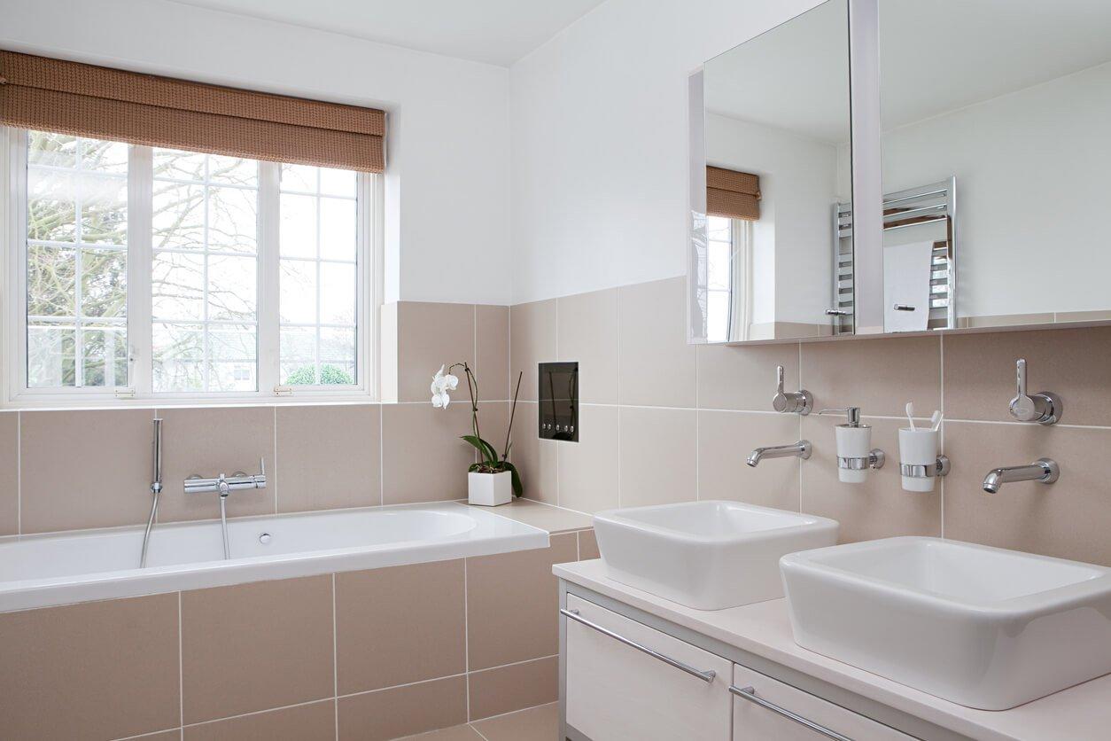 Modern bathroom with a half tile finish