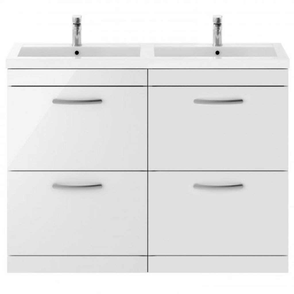 His and hers double basin vanity unit in a gloss white finish