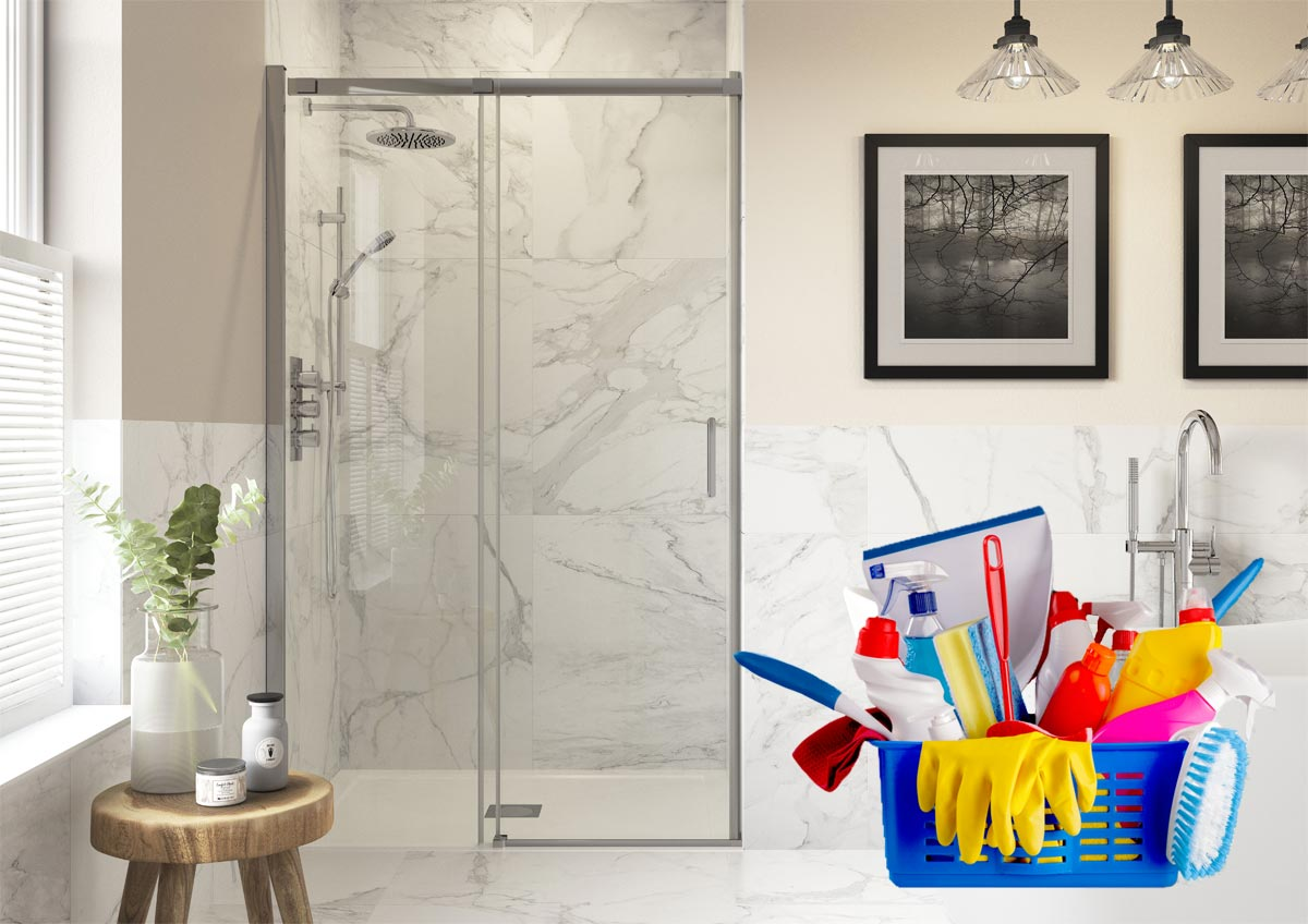 Shower door and cleaning products