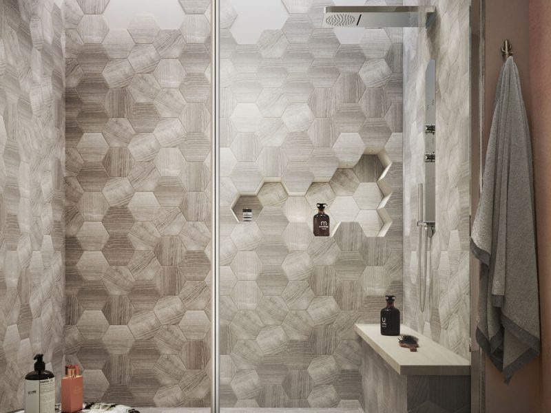 Wet room installed in an alcove