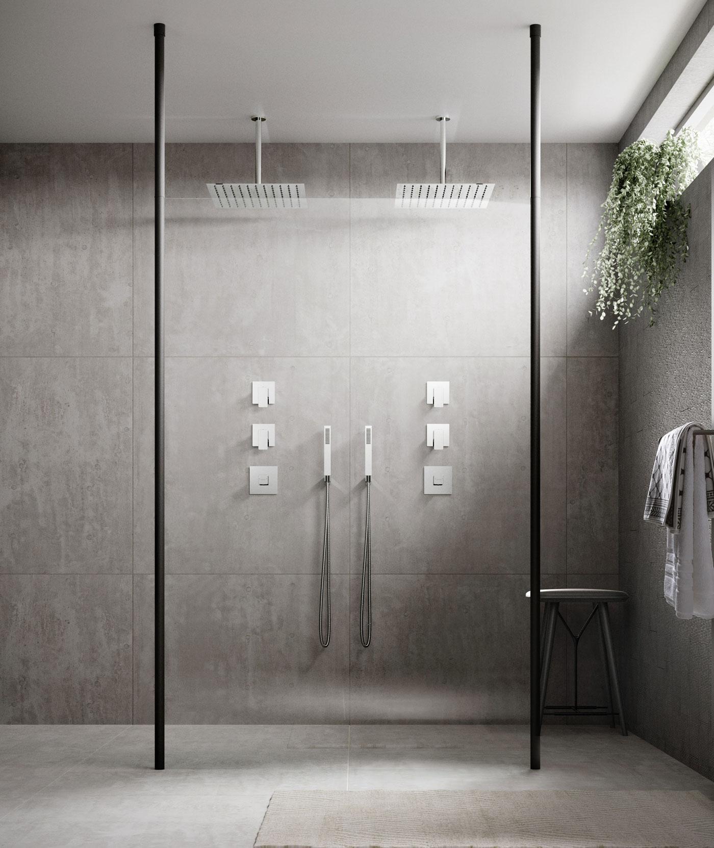 wet room screen with grey tiles