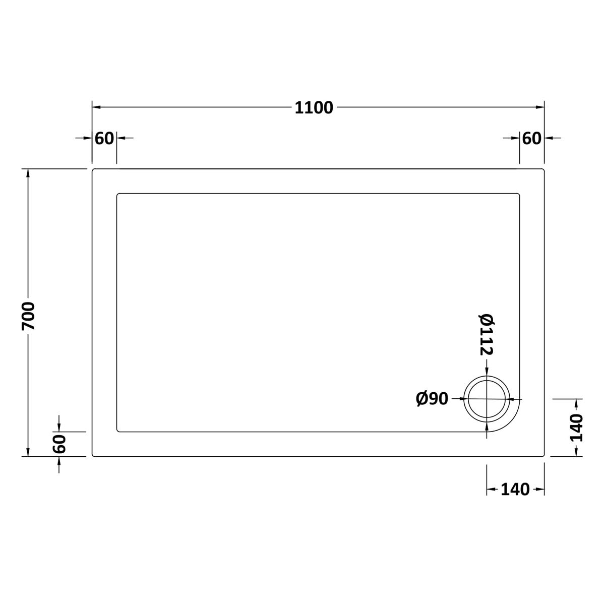 1100 x 700 Shower Tray Rectangular Low Profile by Pearlstone Dimensions