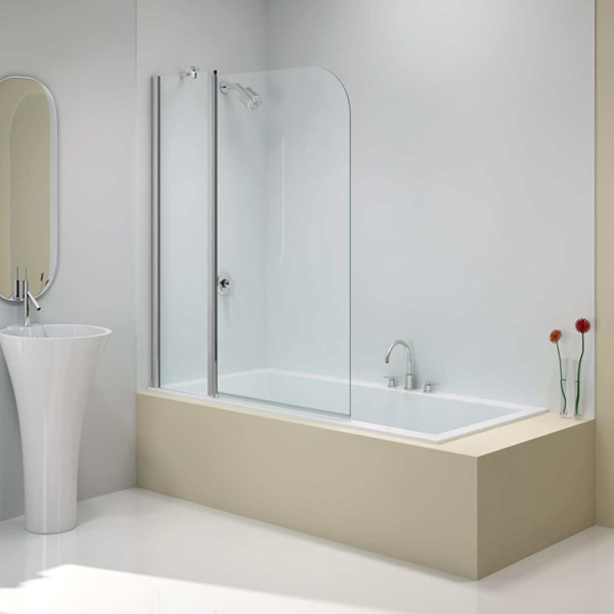 Merlyn Ionic Two Panel Folding Curved Bathscreen
