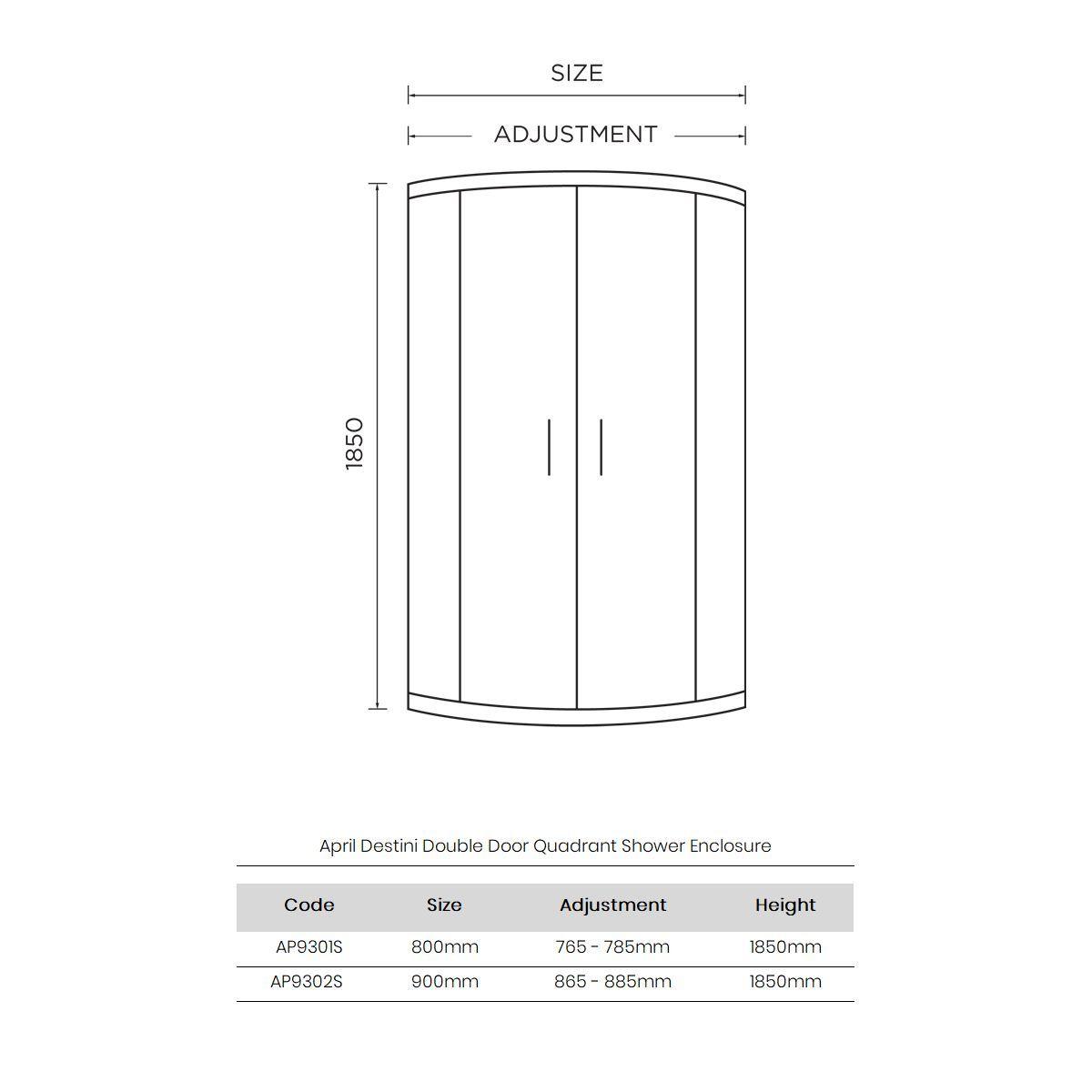 April Destini Double Door Quadrant Shower Enclosure Dimensions