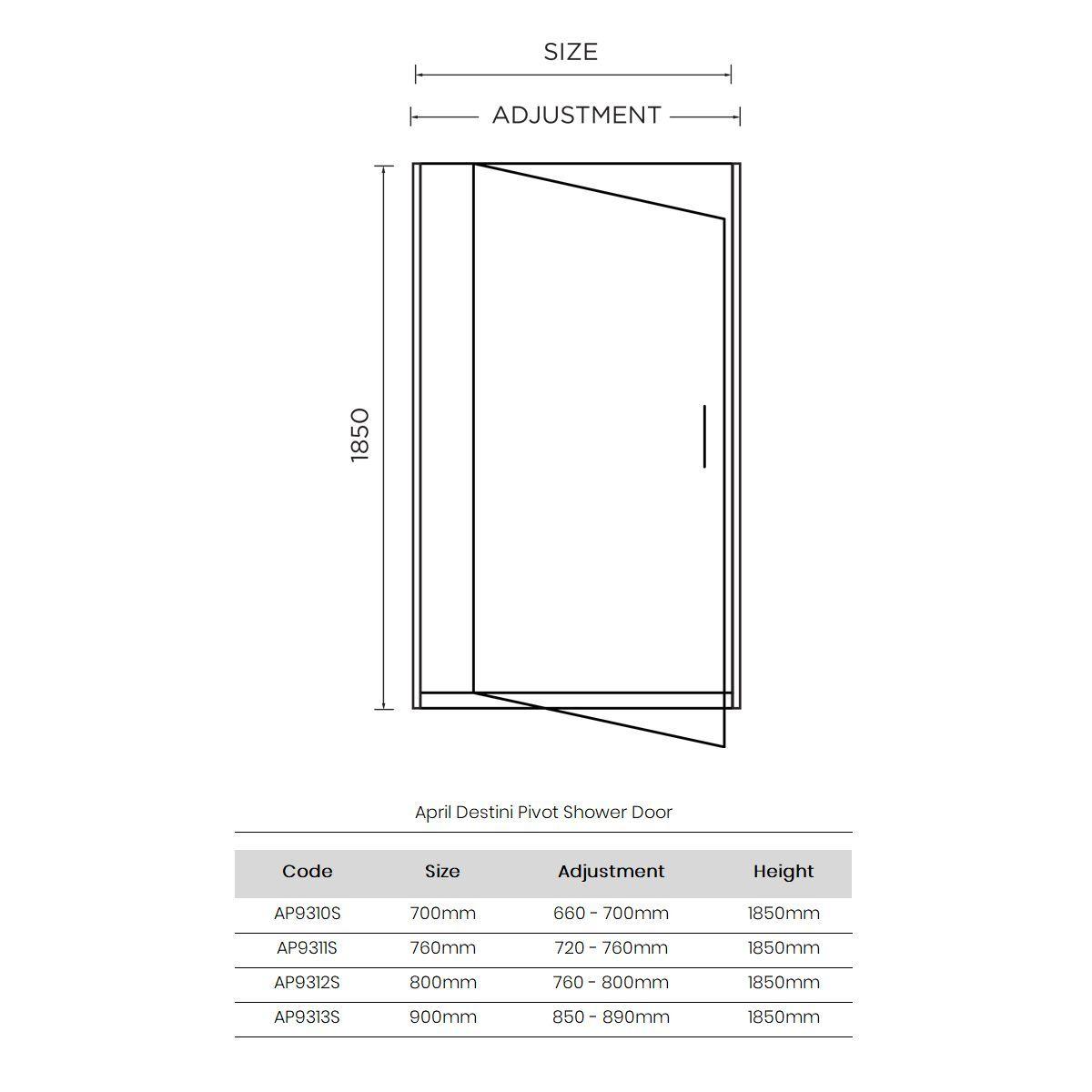 April Destini Pivot Shower Door with Optional Side Panel Dimensions