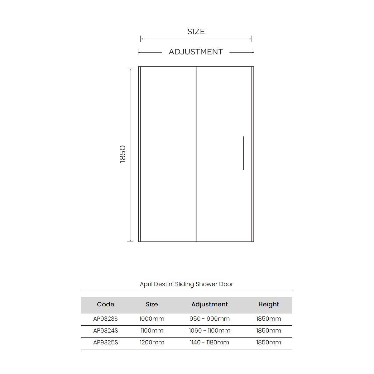 April Destini Sliding Shower Door with Optional Side Panel Dimensions