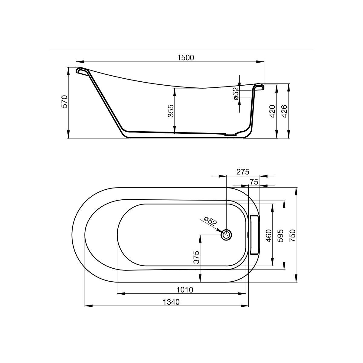 April Eldwick Freestanding Slipper Bath Dimensions