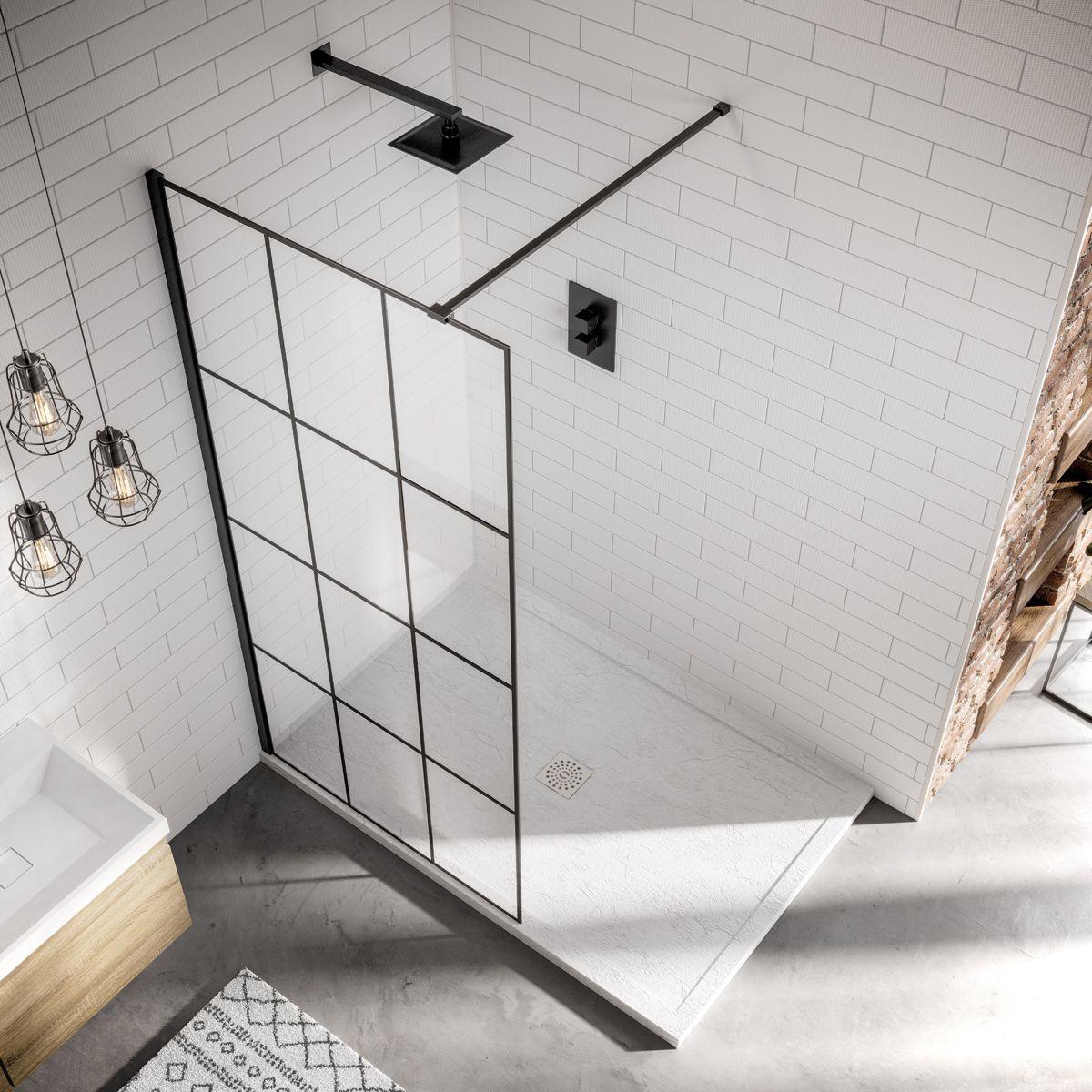 April Identiti 8 Framed Black Matrix Wet Room Shower Enclosure Overhead