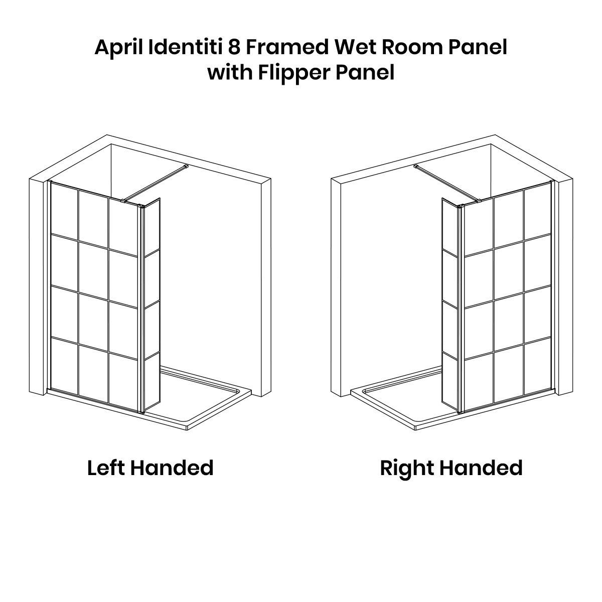 April Identiti 8 Framed Black Matrix Wet Room Shower Enclosure with Flipper Panel
