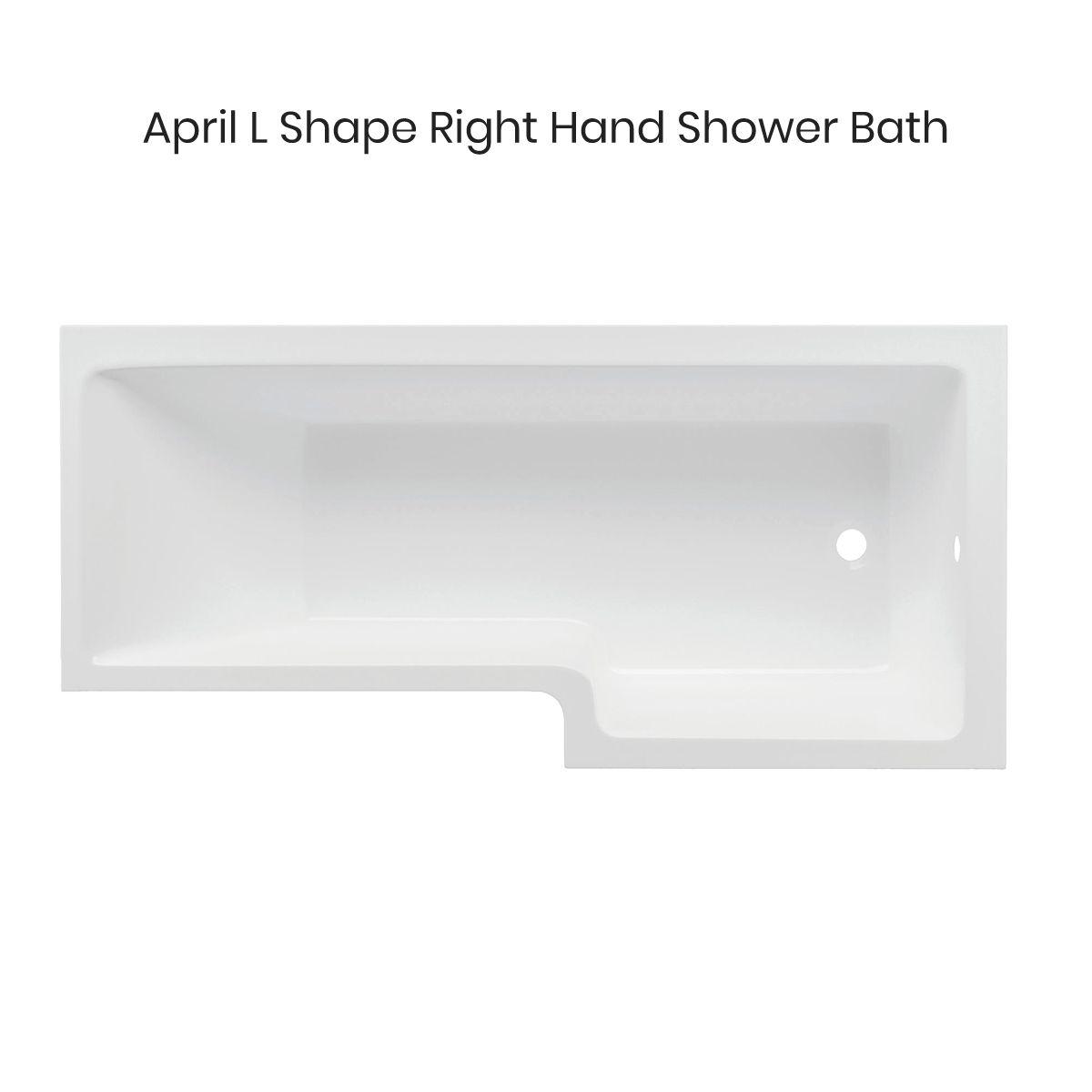 April L Shape Shower Bath Right Hand