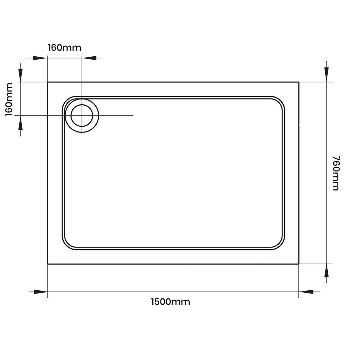 Aquadart Rectangular 1500 x 760 Shower Tray Dimensions