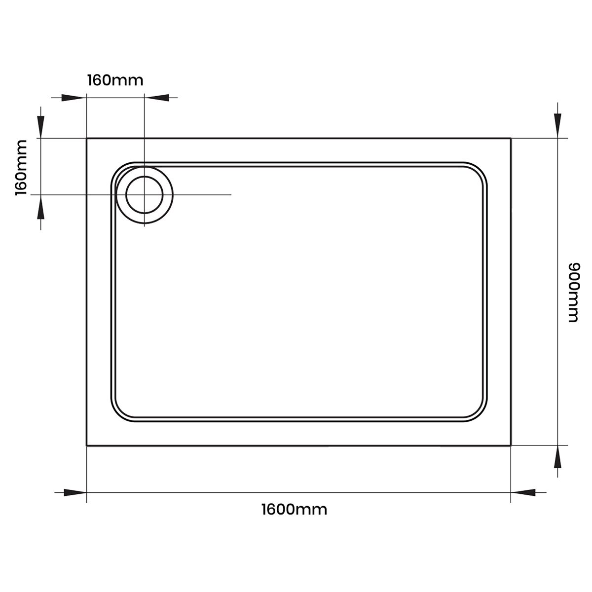 Aquadart Rectangular 1600 x 900 Shower Tray Diemnsions