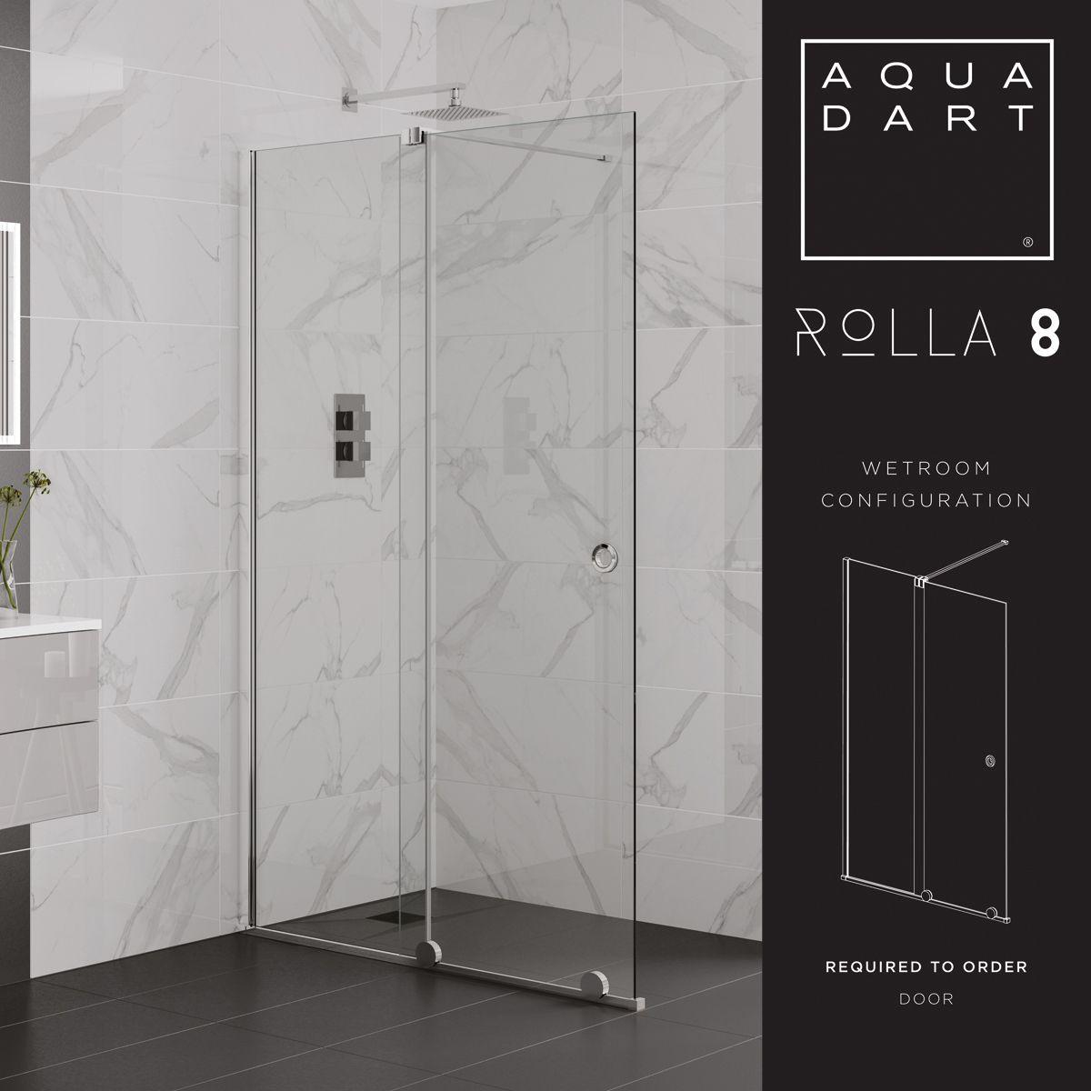 Aquadart Rolla 8 Black Sliding Shower Enclosure Wet Room Configuration
