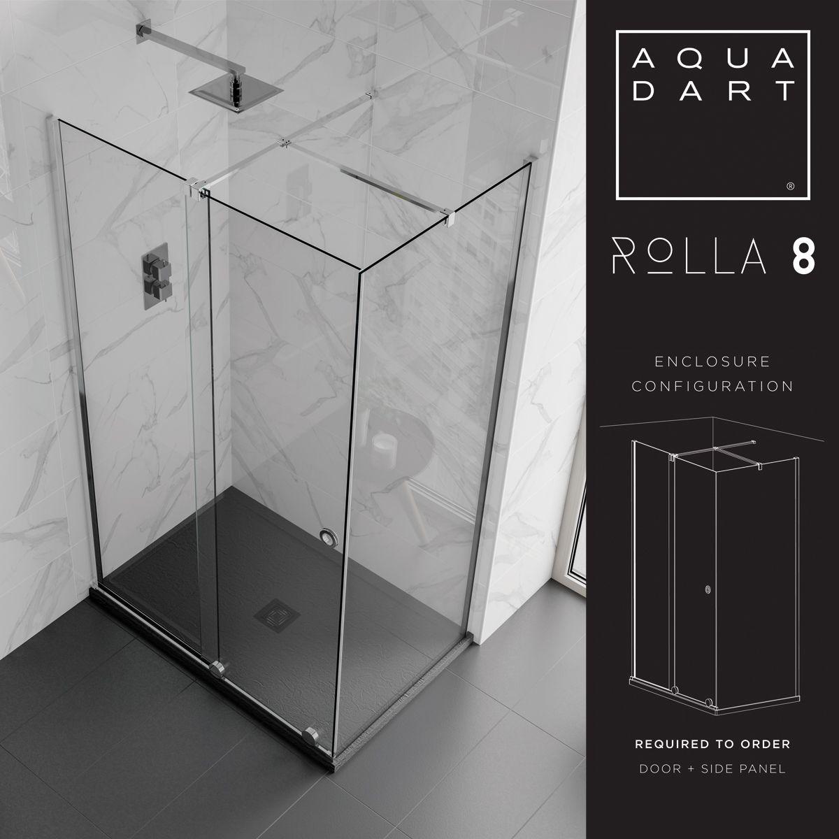 Aquadart Rolla 8 Black Sliding Shower Door with Side Panel Configuration