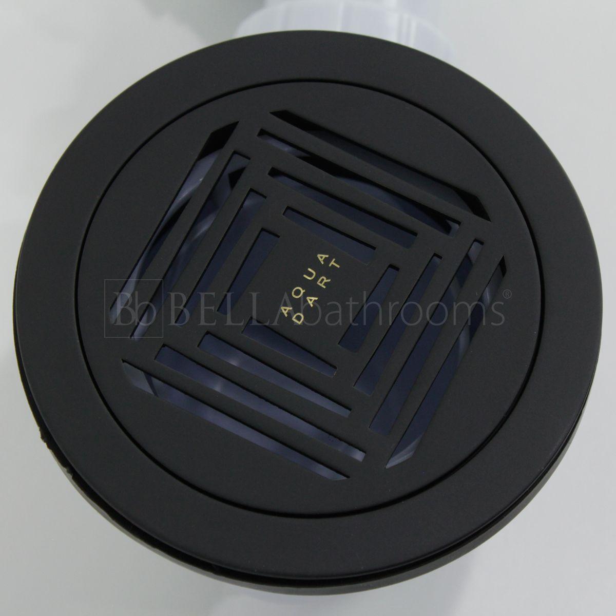 Aquadart 90mm Shower Waste with Black Grate Top