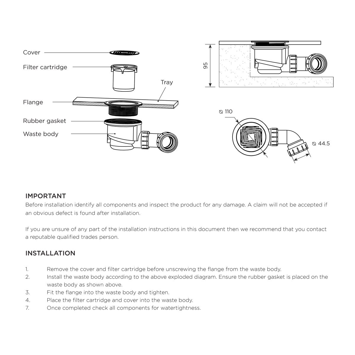 Aquadart 90mm Shower Waste with Black Grate Instructions