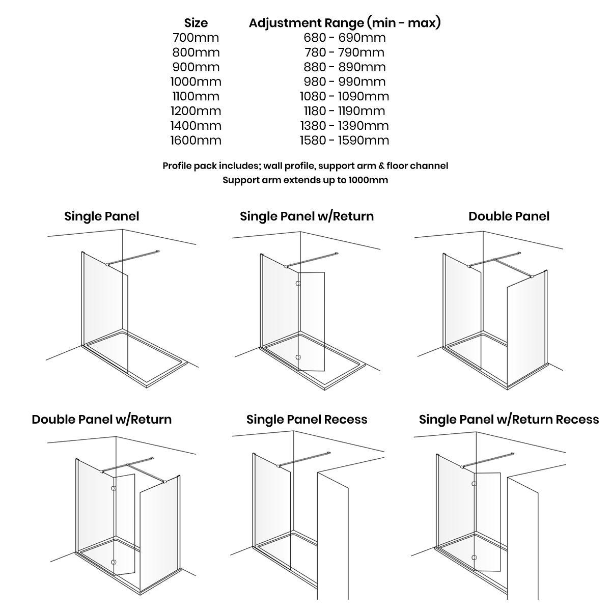 Aquadart Wet Room 10 Polished Silver Wet Room Shower Enclosure with Optional Side Panel Dimensions