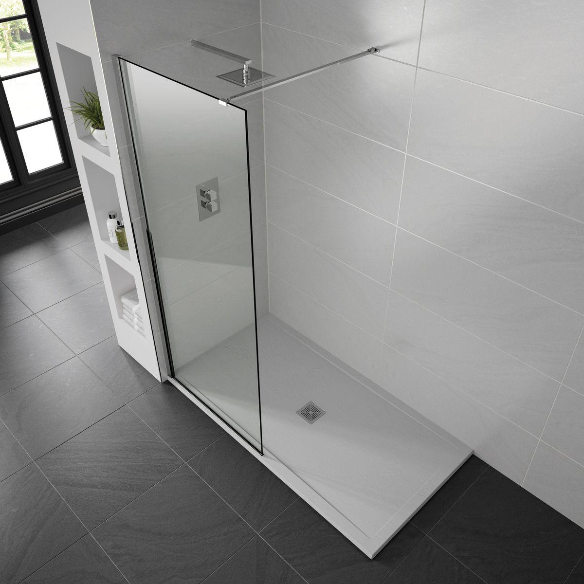 Aquadart White Slate Shower Tray 1400 x 760 Lifestyle
