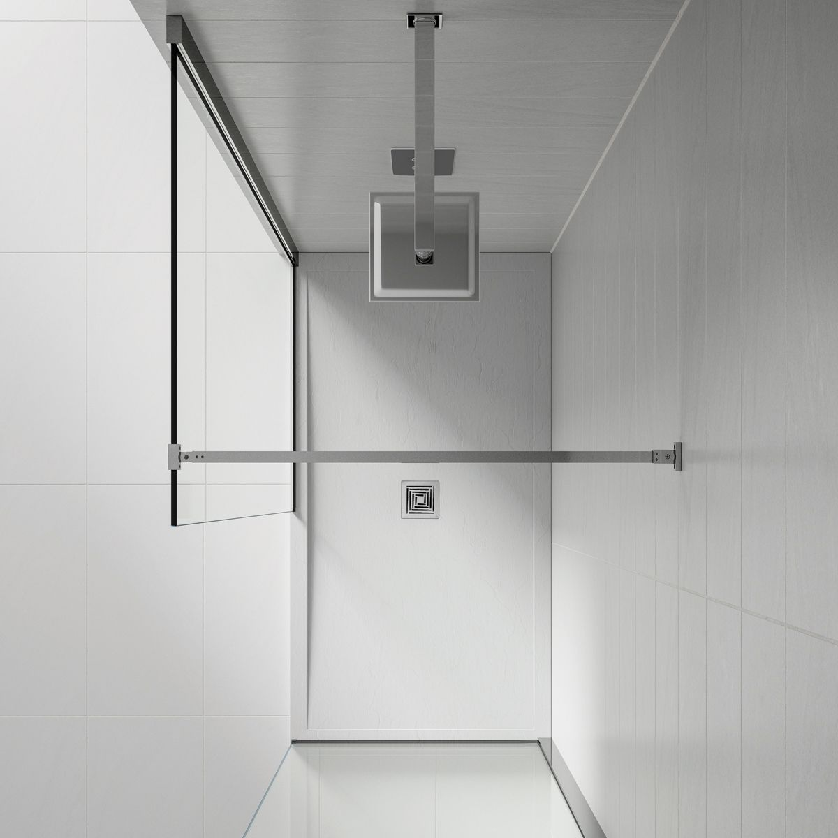 August White Slate Shower Tray 1000 x 800 Overhead