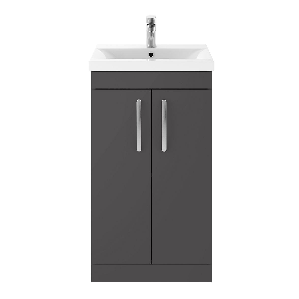 Nuie Athena Gloss Grey 2 Door Floor Standing Unit 500mm w/ Basin