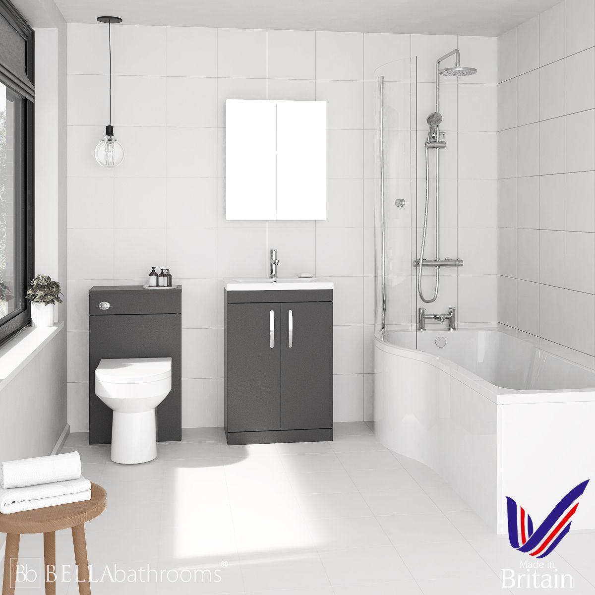 Athena Gloss Grey 600 P Shaped Left Hand Shower Bath Suite