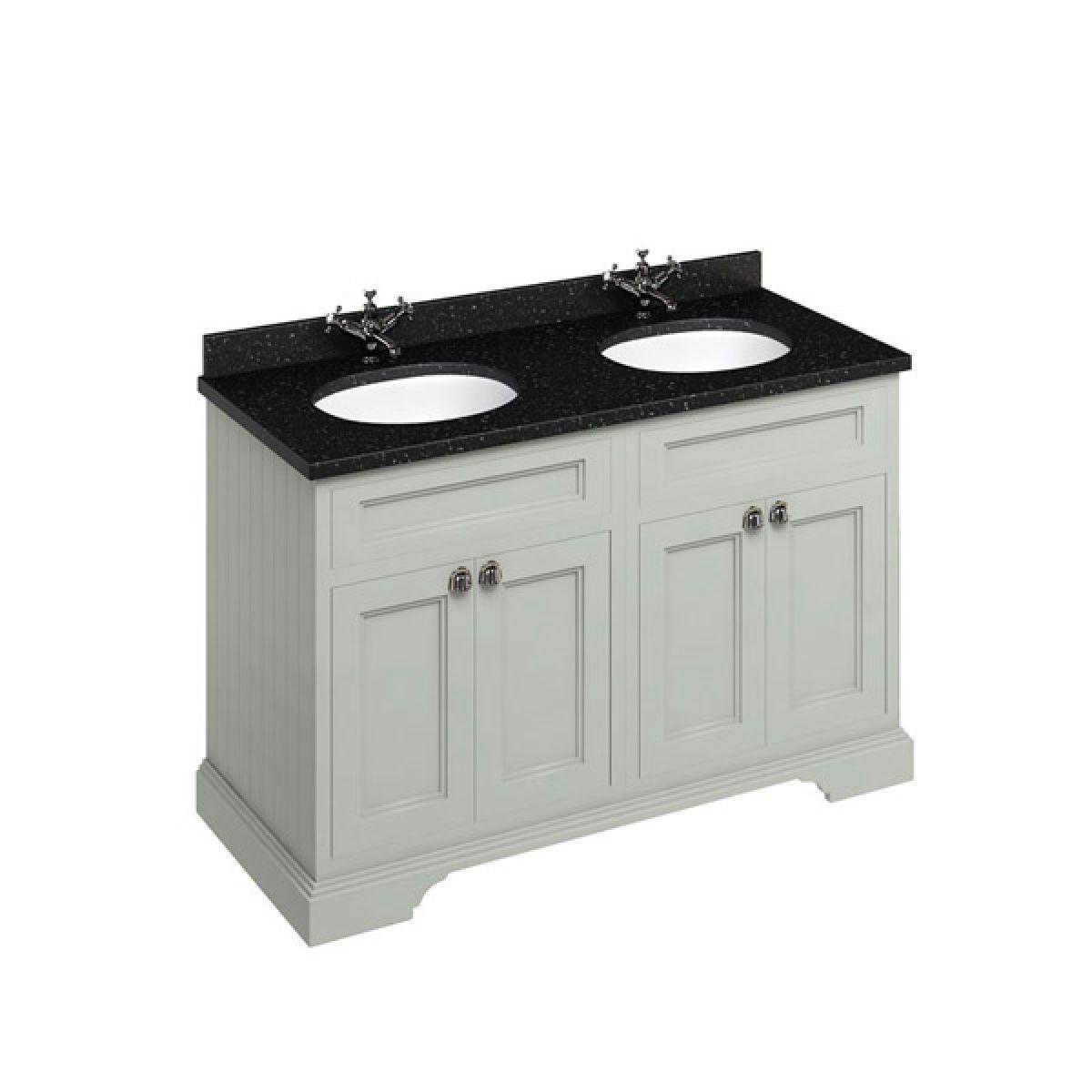 Burlington Dark Olive Double Freestanding Vanity Unit 1300mm Granite Black