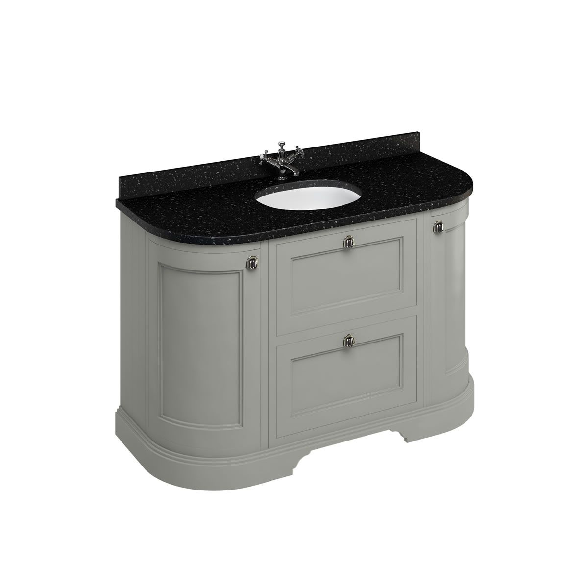 Burlington Dark Olive Freestanding Round Vanity Unit 1340mm Granite Black