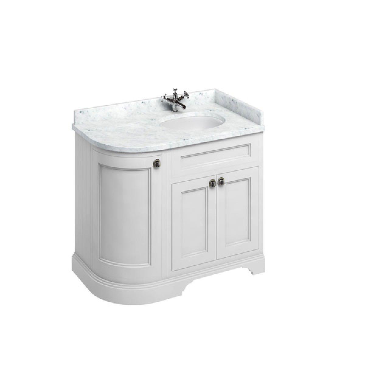 Burlington Matt White Freestanding Right End Round Vanity Unit 980mm Carrara White
